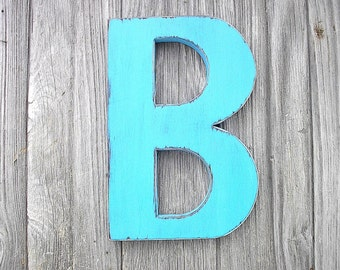 Wooden Wall Decor Shabby Chic Big Letter B Turquoise 12""