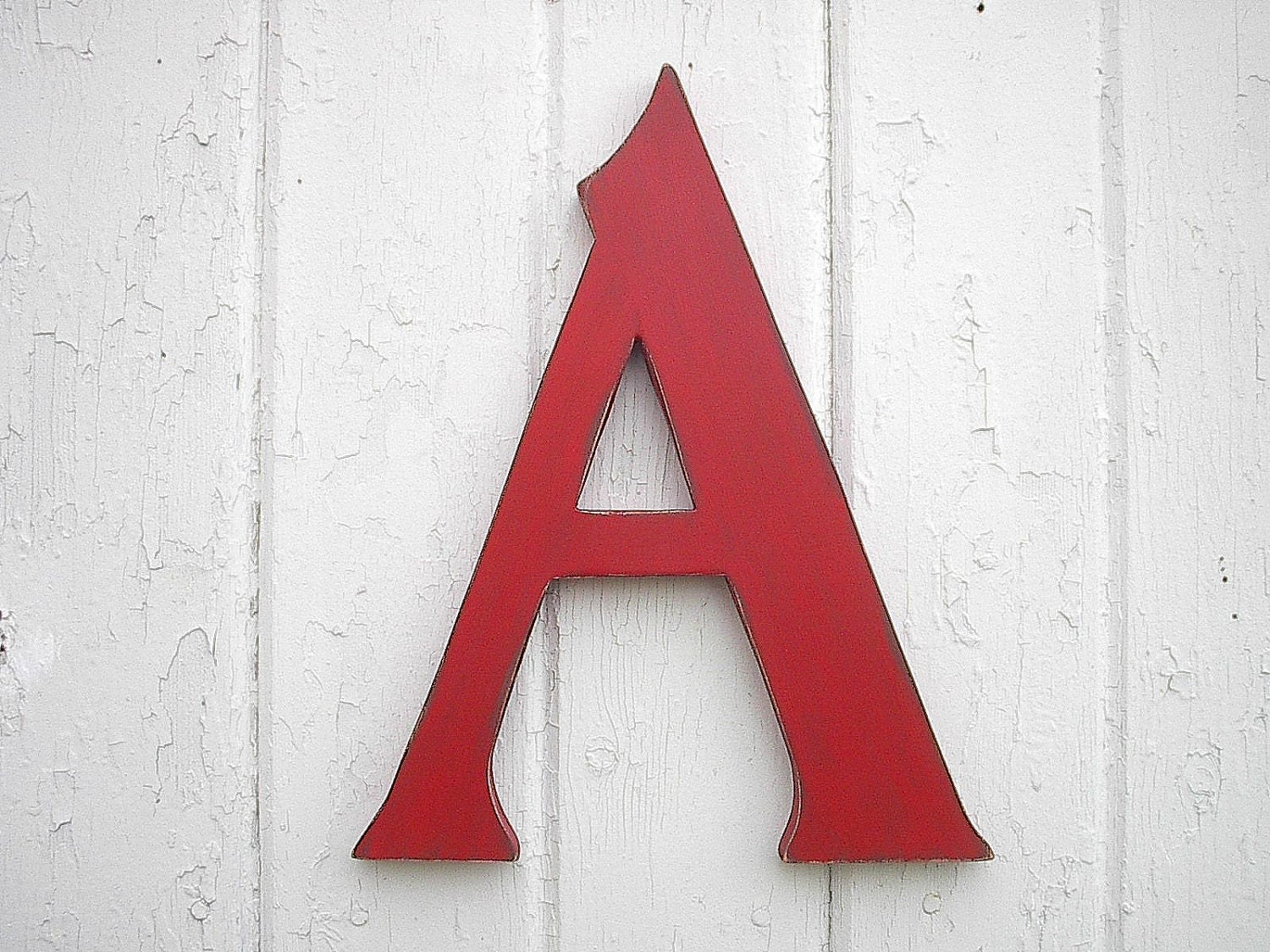 Rustic cabin cottage wall decor letters big a red 12 inch for Party wall letter template