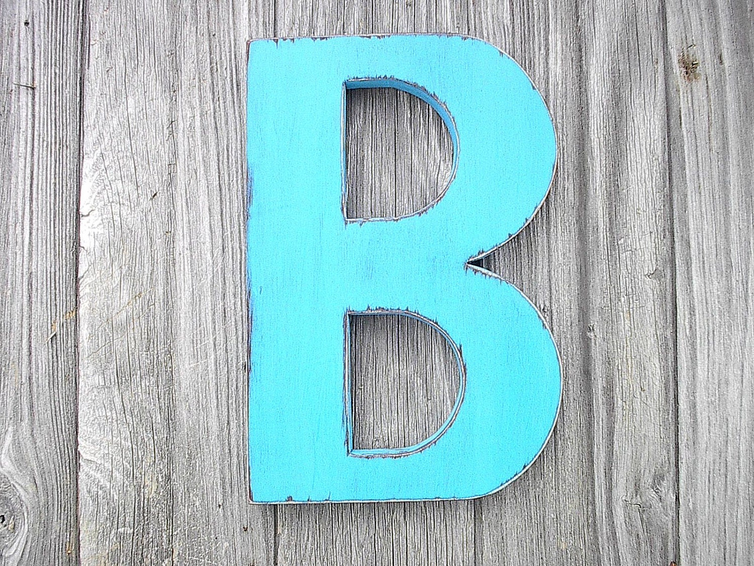 Wooden wall decor shabby chic big letter b turquoise 12 - Wood letter wall decor ...