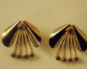 Unique designed Vintage Earrings With Purple Rhinestones