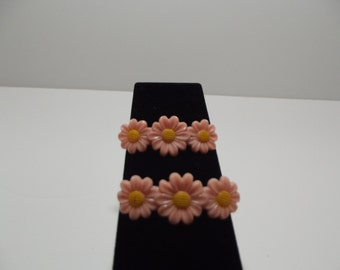 Pink Daisy Hair Barrettes - Rockabilly or Pinup