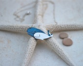 Sterling silver and marine blue enamel whale necklace