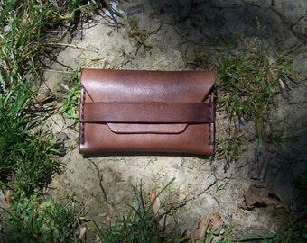 Leather Credit Card Business Card Wallet. Full Grain Leather. Handmade in the USA.