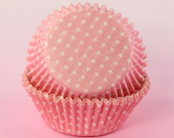 50x, 2'' Standard Size Cupcake Liners, Baking Cups, Pink Polka Stars, 2'' x 1 1/4''