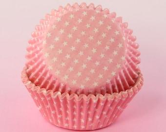 Pink Polka Stars Cupcake Liners , 2'' Standard Size , Baking Cups Bulk