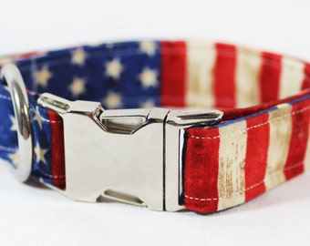 "American flag with stars and stripes dog collar - ""Glory Glory"""