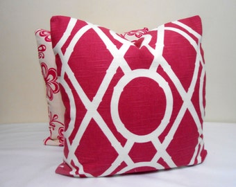 Robert Allen Lattice Bamboo in Raspberry-  Decorative Pillow Cover -20 x 20 inch