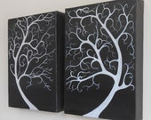 Tree Painting - Silhouette Tree Art - White trees on a Black background - Two original monochrome Acrylic Paintings on canvas