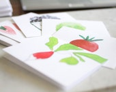 MULTIPACK Fruits & Vegetables Watercolor Notecard Set (with printed quote inside)