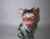 Cat Figurine Gray Cat Vintage Cat Gray Kitten