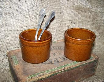 Small Brown Crocks Rustic Crocks