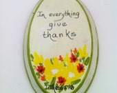 Small Original Wood Plaque Bible Verse Give Thanks 1970s Retro Orange Yellow Wall Decor
