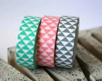 Pastel Triangle Mint/Light Pink/Gray Washi Tape Set of 3