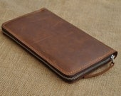 Long  wallet -Men wallet-- Leather purce-Instrument package -Passport Holder