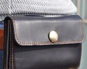 Genuine Leather wallet with  zipper pocket-phone case-belt bag-black leather