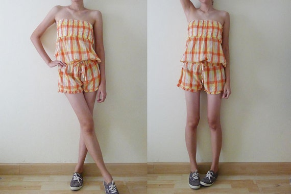 CUTE vintage orange and yellow plaid short strapless jumpsuit - photo#28