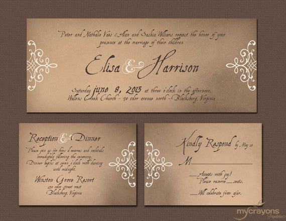 Medieval Wedding Invitation Wording: Items Similar To Printable Wedding Invitation // Vintage
