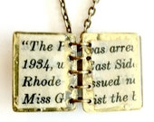 Steampunk Opening Book Necklace with antique text Handmade Gift