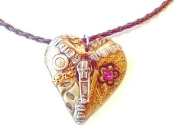Mended Heart Pendant Steampunk polymer heart necklace Handmade Gift
