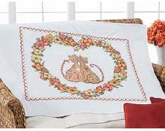 Stamped Cross Stitch Quilt/Lap Top - Cats with Poppies