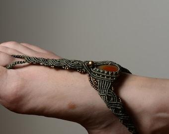 Multi Functional Macrame Jewelry  Anklet Tiara Necklace Bracelet Head Piece Brass Beads Carnelian Gemstone Slave Bracelet Hippie Boho Tribal