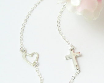 New Tiny Sideways Cross and Heart Necklace, Sterling Silver Cross and Heart on Silver chain, Cross and Heart Necklace