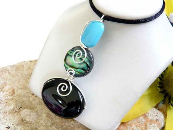Black Green Blue Wire Wrapped Sterling Silver Stone Pendant