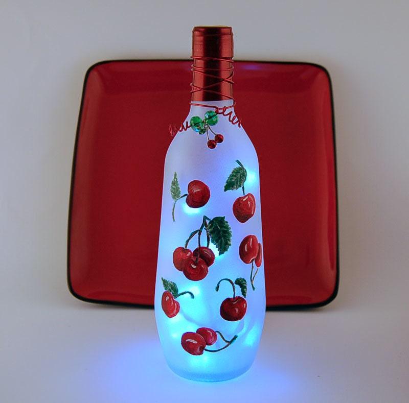 Red Cherries Wine Bottle Light Kitchen Decor