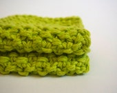 hand knit plushy cotton washcloth in bright lime green