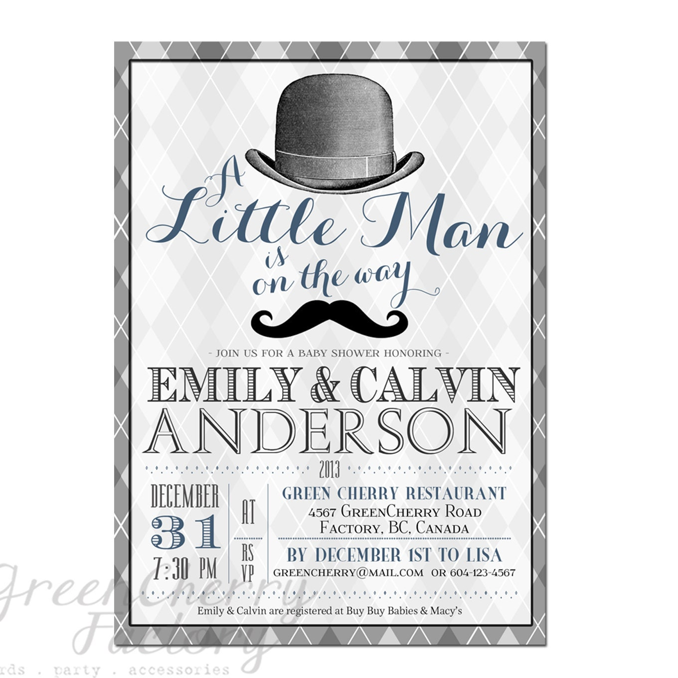items similar to little man baby shower invitation