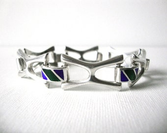 Vintage Sterling Silver Linked Bracelet With Blue And Green Enamel Link Connectors Made In Italy