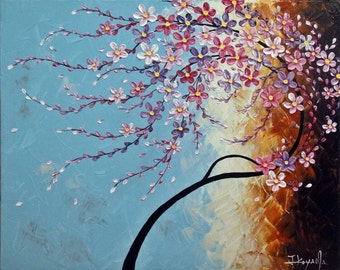"""Original Impasto Acrylic Modern Abstract Art  Painting on  Gallery wrapped Canvas 30"""" x 24"""", Home Decor, -Flowing Blossoms- by Tomoko Koyam"""