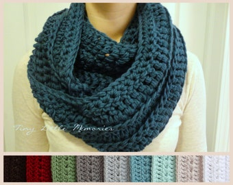 Dark Teal Infinity Scarf, Crocheted, Women's, Color Choices (White, Gray, Red, Brown, Black)