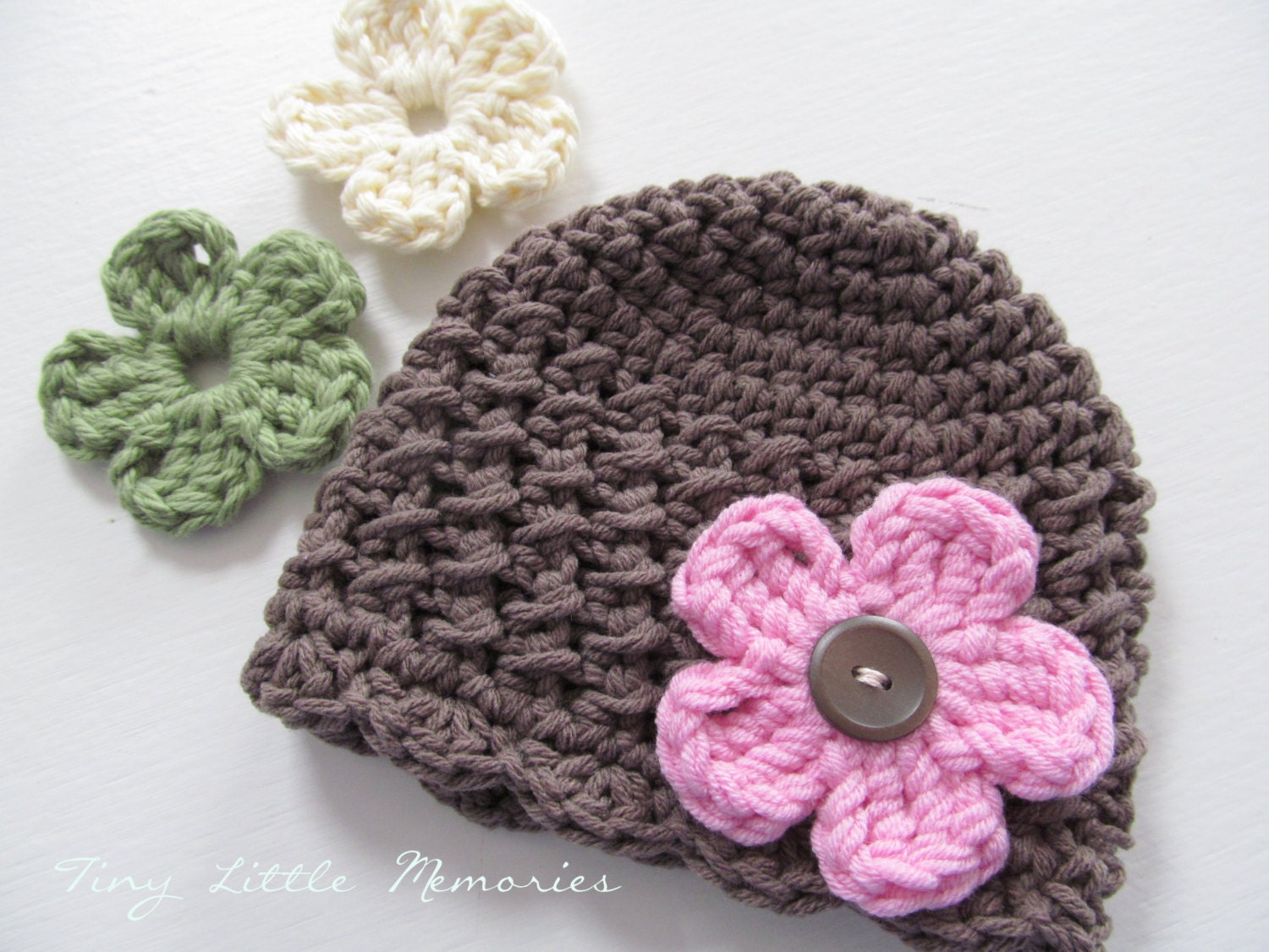 Interchangeable Crochet Flower Pattern : Toddler Crochet Hat with Interchangeable Flowers COLOR of