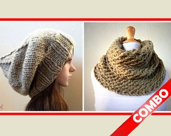 Combo - Light KHAKI (or choose color) Slouchy Beanie hat with Infinity scarf/Cowl - womens accessories - Wool - gift