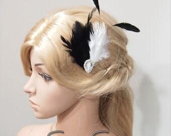 1920s Headpiece, Flapper Clip, Gatsby Headpiece, Feather hair clip, Race Fascinator, Flapper Headpiece, Bridal Headpiece, Goth Clip  HB167