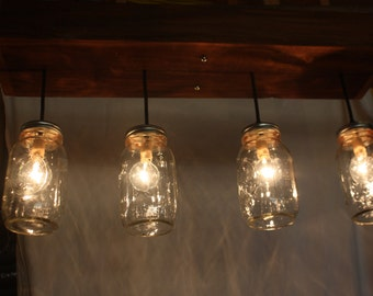 Four light cedar mason jar fixture