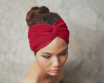 Maroon Red, Turban Twist headband, Plain color collection, TW-A-12032-LL