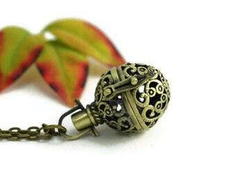 Filigree Ornament Locket Necklace, Ornate Locket, Bronze Filigree, Bronze Globe Locket, Locket Pendant, Neoclassical, Victorian Jewelry,