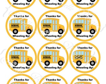 Wheels on the Bus Printable Round Favor Tags or Cupcake Toppers - Instant Digital Download