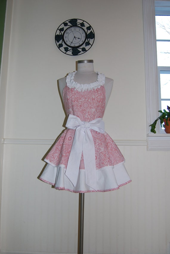 Red and White 2 Tier Circle Skirt Apron with Ruffled Neckline and Pocket