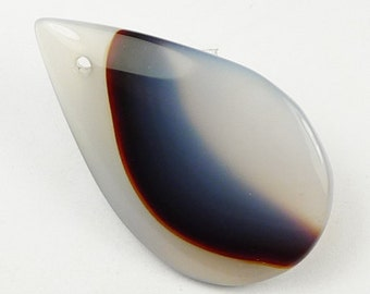 Patterned Agate Pendant Bead - 38x22x5mm