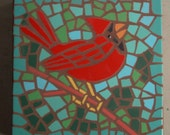 "Made to Order, Exterior tile mosaic garden stone, ""Cheerful Cardinal"", 12"" square, exterior tile, bird, green, blue"