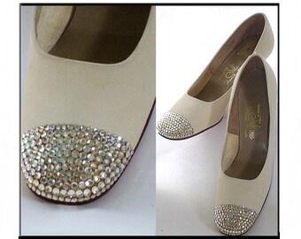 "Vintage 1960s Shoes  by ""Juliano"".  Heels Glitter  Pumps Stilluetos Pinup Bombshell Dress Garden Party Rockabilly Mad Men Wedding"