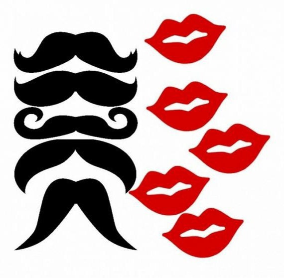 100 pieces Mustaches Moustaches & Lip Cut Outs Party by ...