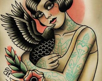 Flapper and Crow Tattoo Art Print