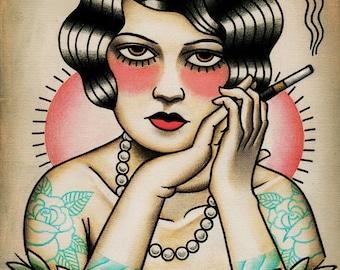 Smoking Flapper Art Print