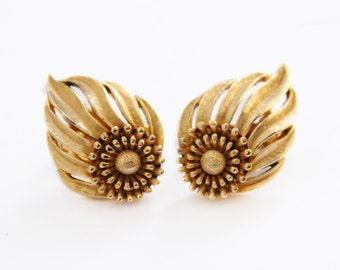 Gold Tone Trifari 'Fire' Earrings
