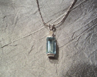 Natural Aquamarine Diamond accented Pendant