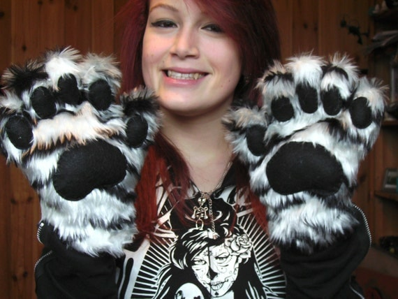 Cute White Tiger Cosplay Paw Gloves with by TigerStripedHeart